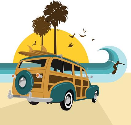 Retro vintage surf.Surf´s up series. Woody, surfboard, summer, sea