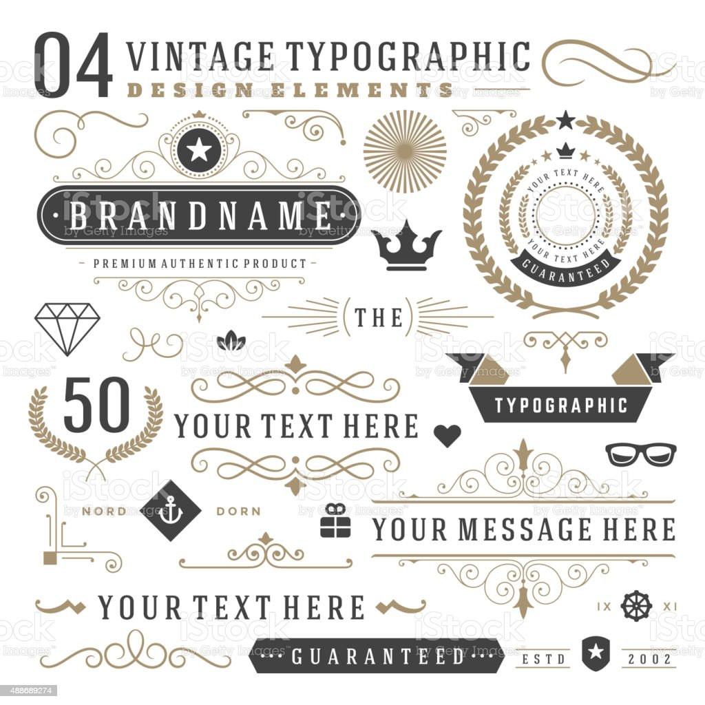 Elementos de diseño Retro vintage tipográfica ilustración de elementos de diseño retro vintage tipográfica y más vectores libres de derechos de 2015 libre de derechos