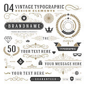 Retro vintage typographic design elements
