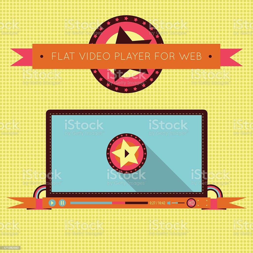 Retro vintage video player interface for web. vector art illustration