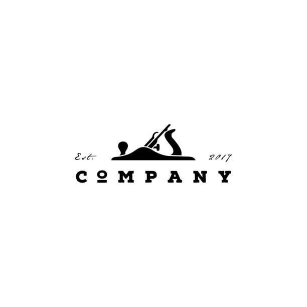 ilustraciones, imágenes clip art, dibujos animados e iconos de stock de diseño retro vintage de carpintería con fore plane / jack plane - carpintero