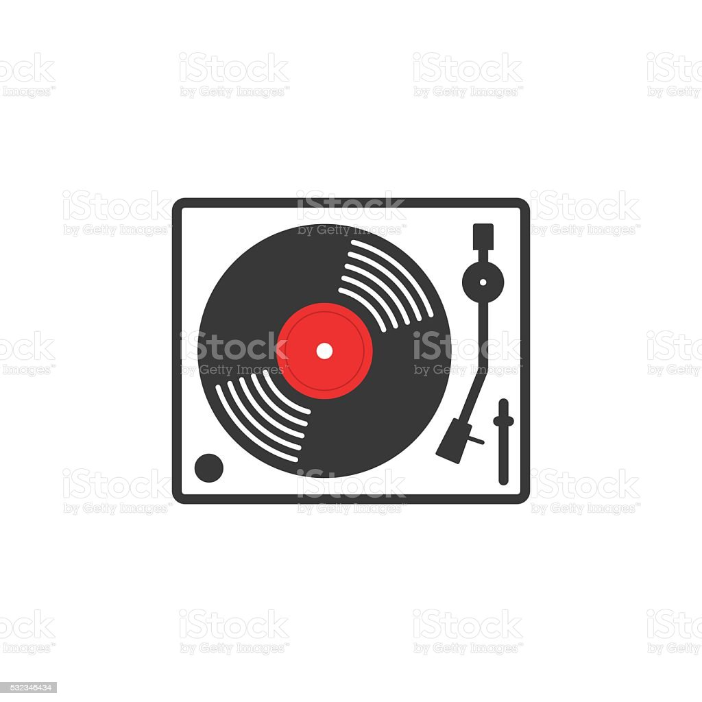 Retro vinyl music player vector icon vector art illustration