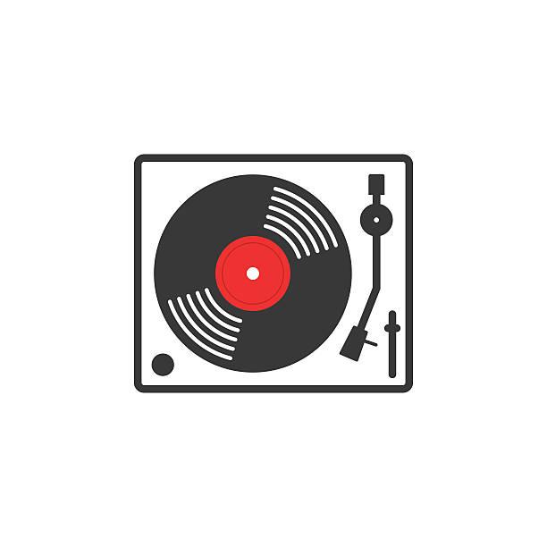 ilustrações, clipart, desenhos animados e ícones de de música retro vetor clipart ícone - toca discos