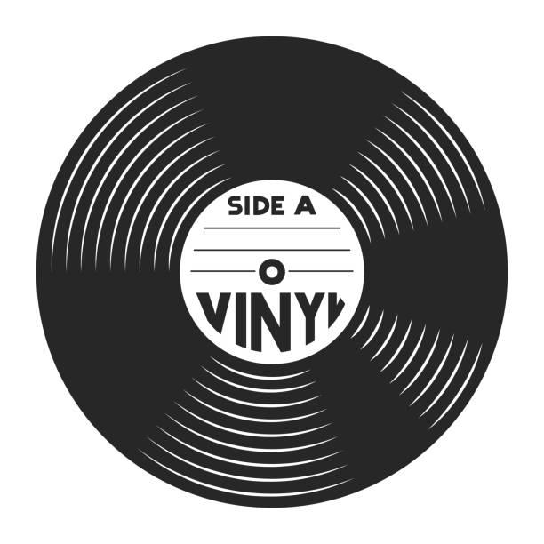 ilustrações, clipart, desenhos animados e ícones de conceito de discos de vinil retrô - toca discos
