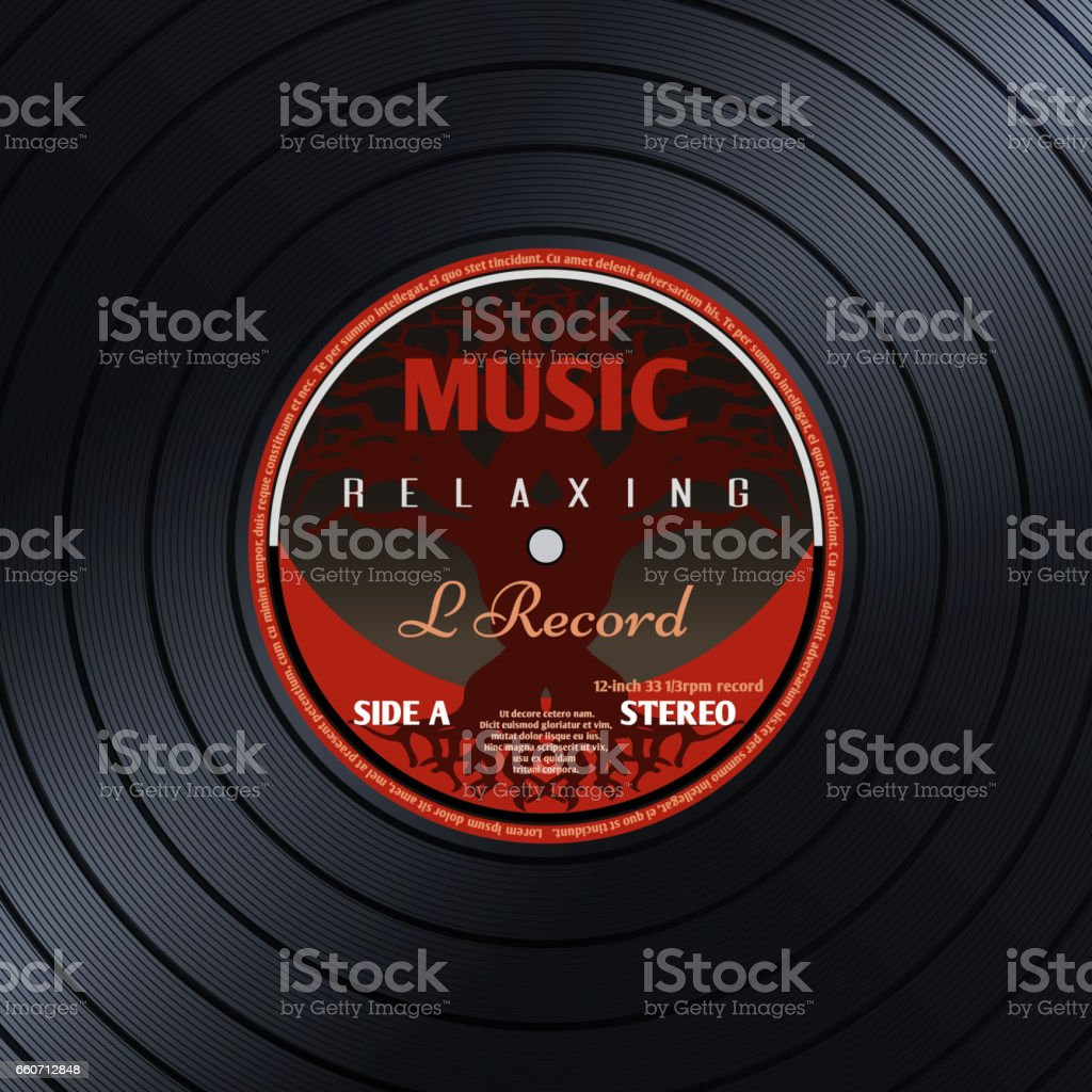 Retro Vinyl Record Label Music Poster Vector Background
