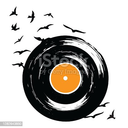 "istock Retro vinyl record with flying birds ""nsilhouette drawn in grunge, sketch style, vector illustration 1282643850"