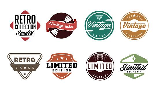 Retro vinyl records emblems, labels, badges.