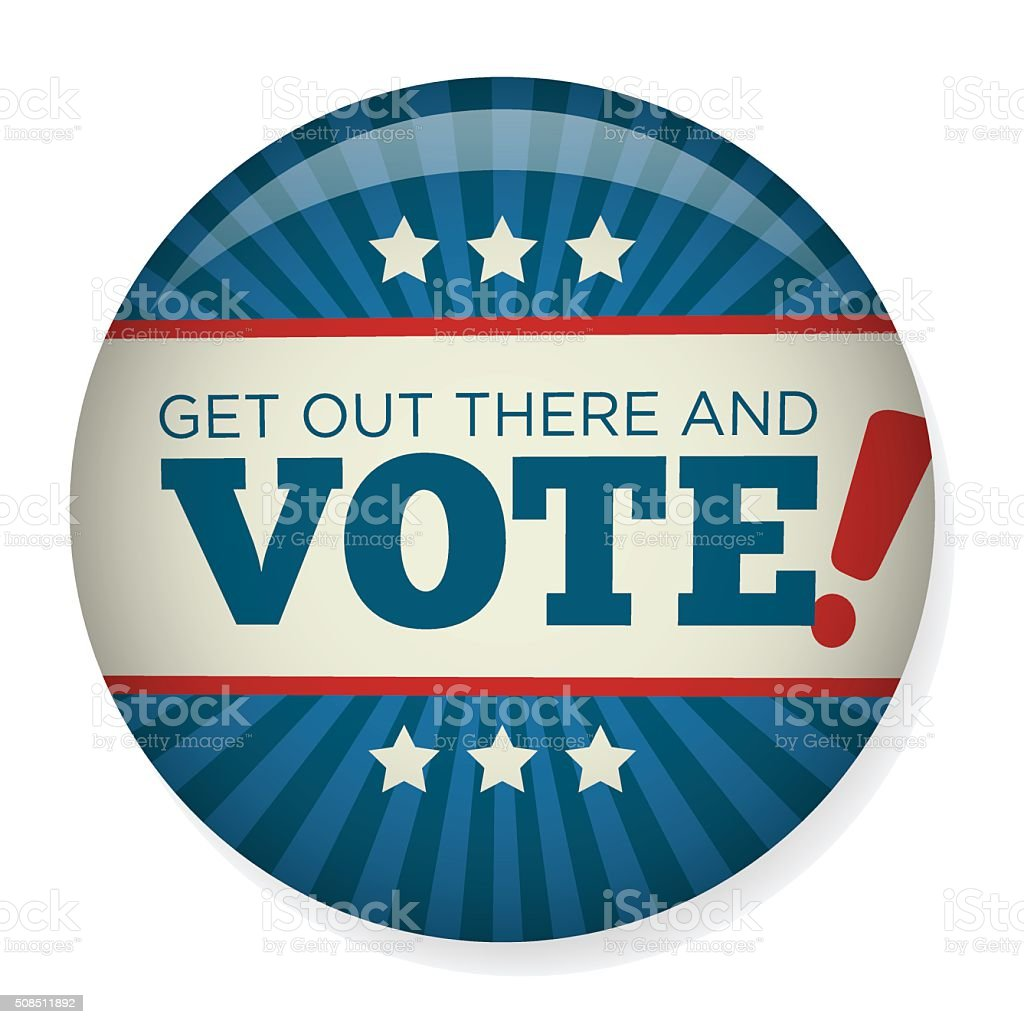 Retro Vote or Voting Campaign Election Pin Button or Badge vector art illustration