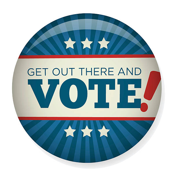 Retro Vote or Voting Campaign Election Pin Button or Badge Retro or Vintage Style Vote or Voting Campaign Election Pin Button or Badge presidential candidate stock illustrations