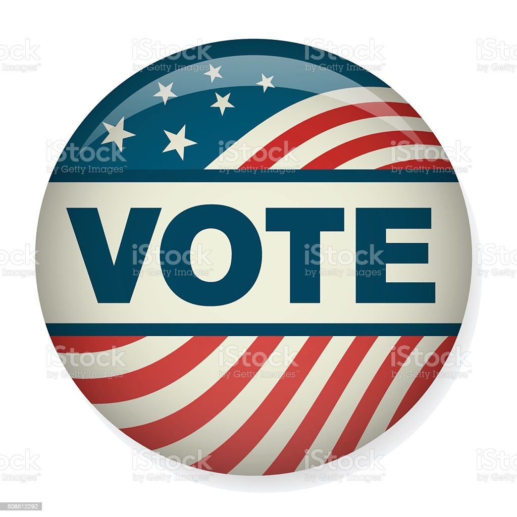 Retro Vote or Voting Campaign Election Pin Button or Badge. vector art illustration