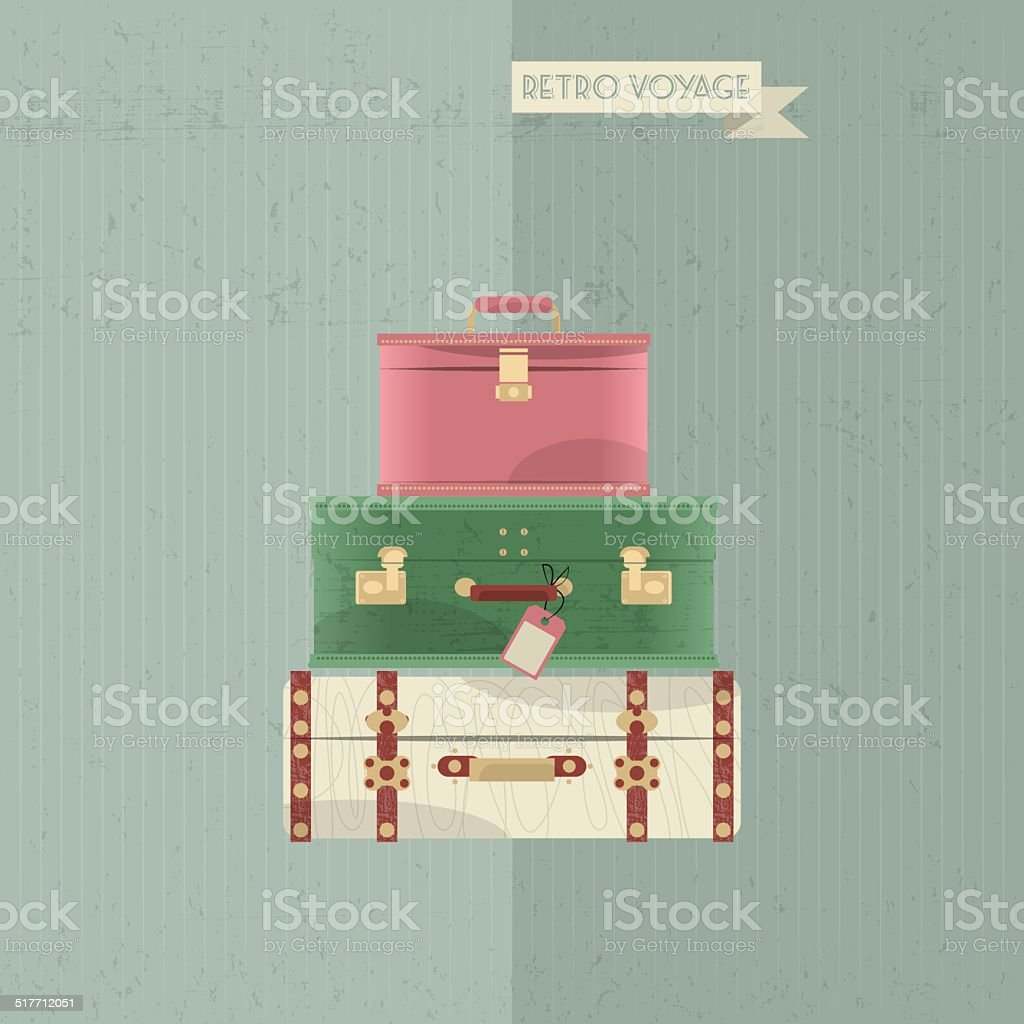 Retro voyage. Stack of vintages suitcases. Travel concept. vector art illustration