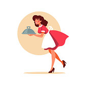 retro waitress holding a plate plate, illustration in cartoon style for your logo, label, emblem