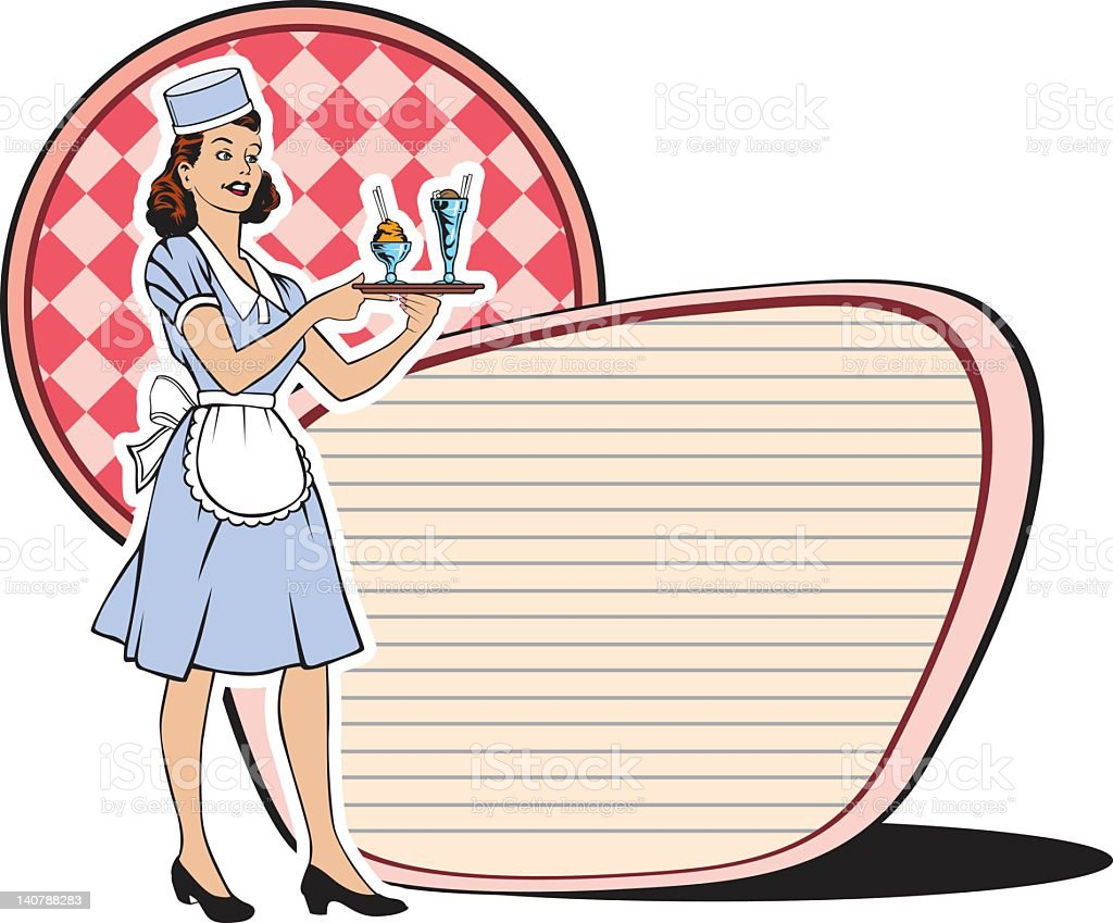 retro waitress sixties - Royaltyfri 1950-1959 vektorgrafik