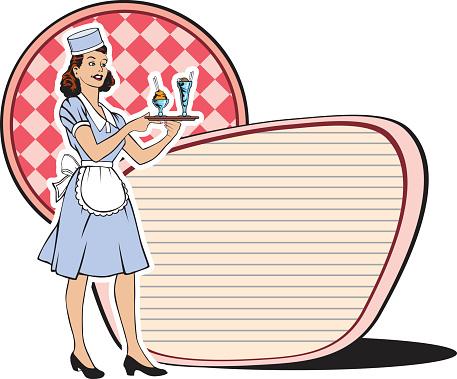 Retro Waitress Sixties-vektorgrafik och fler bilder på 1950-1959