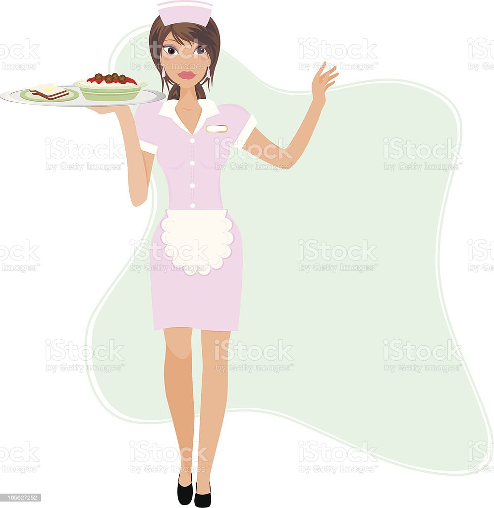 Retro Waitress vector art illustration
