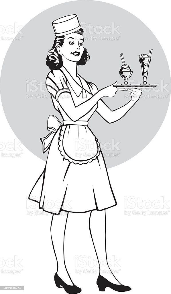 retro waitress royalty-free stock vector art