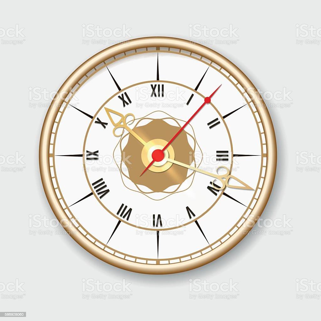 Retro wall clock icon vector art illustration