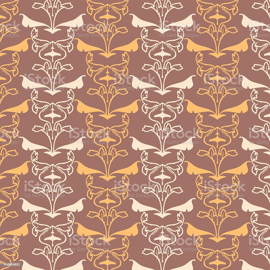 Retro Wallpaper Art Nouveau Stock Illustration - Download ...