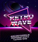 Retro Wave Fond Place Pour Le Texte Vecteurs libres de droits et
