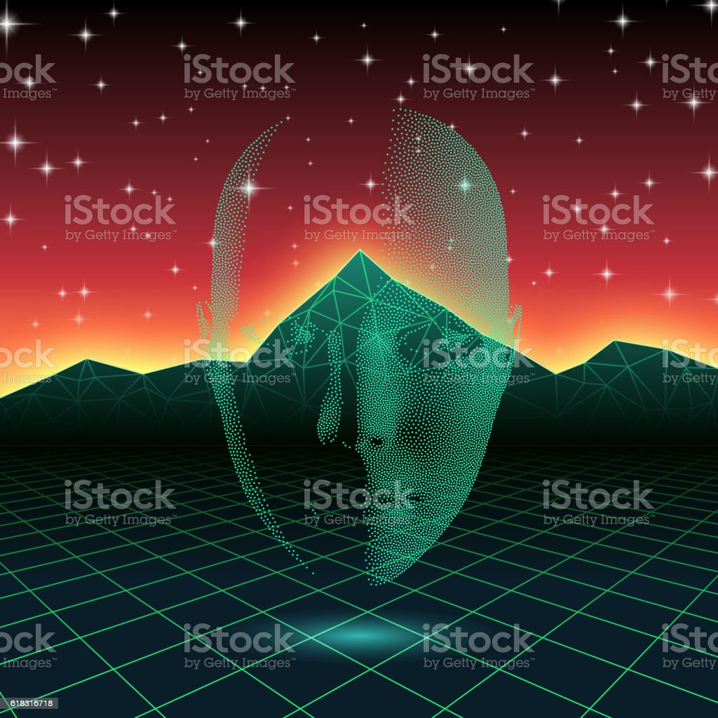 Retro wave shiny head silhouette over neon landscape vector art illustration