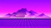 Retro sci-fi background sunset over the mountains with a computer error, retro waves in the style of the 1980s posters.