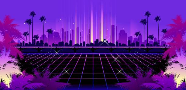 Retro Wave synth Sci-fi vector background, Night City Skyline in the style of retro waves, synth, 80s design. Futuristic vector illustration geometric style, Tropical night miami stock illustrations