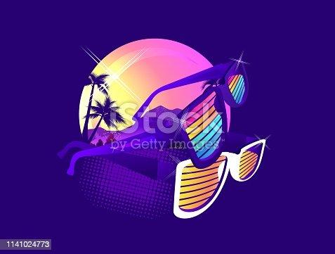 Miami Beach, futuristic dawn stylized badge in retro style on a dark background image, T-shirt printing