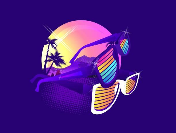 Retro Wave synth Miami Beach, futuristic dawn stylized badge in retro style on a dark background image, T-shirt printing miami stock illustrations