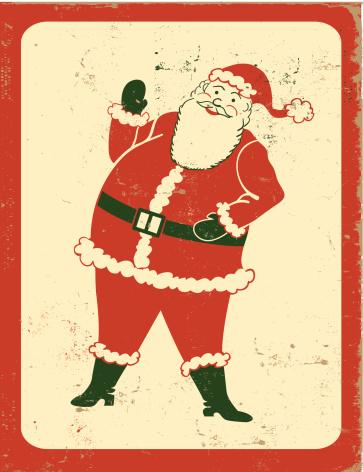 Retro Waving Santa Claus with Frame