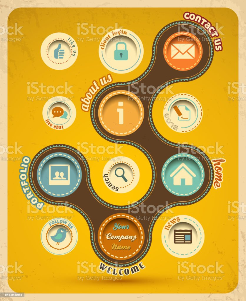 Retro web design template with icons royalty-free stock vector art