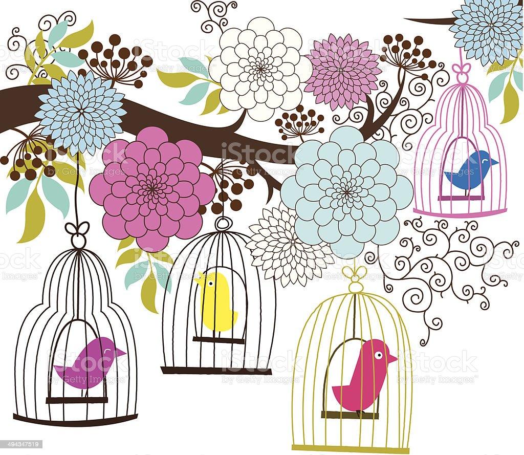 Retro Wedding Floral and Birdcage - Illustration vector art illustration