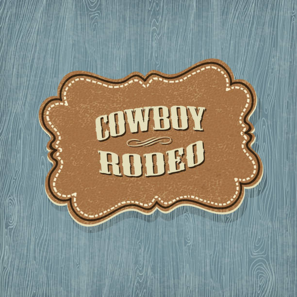 retro western classic label. vector illustration, eps10 - rodeo stock illustrations, clip art, cartoons, & icons