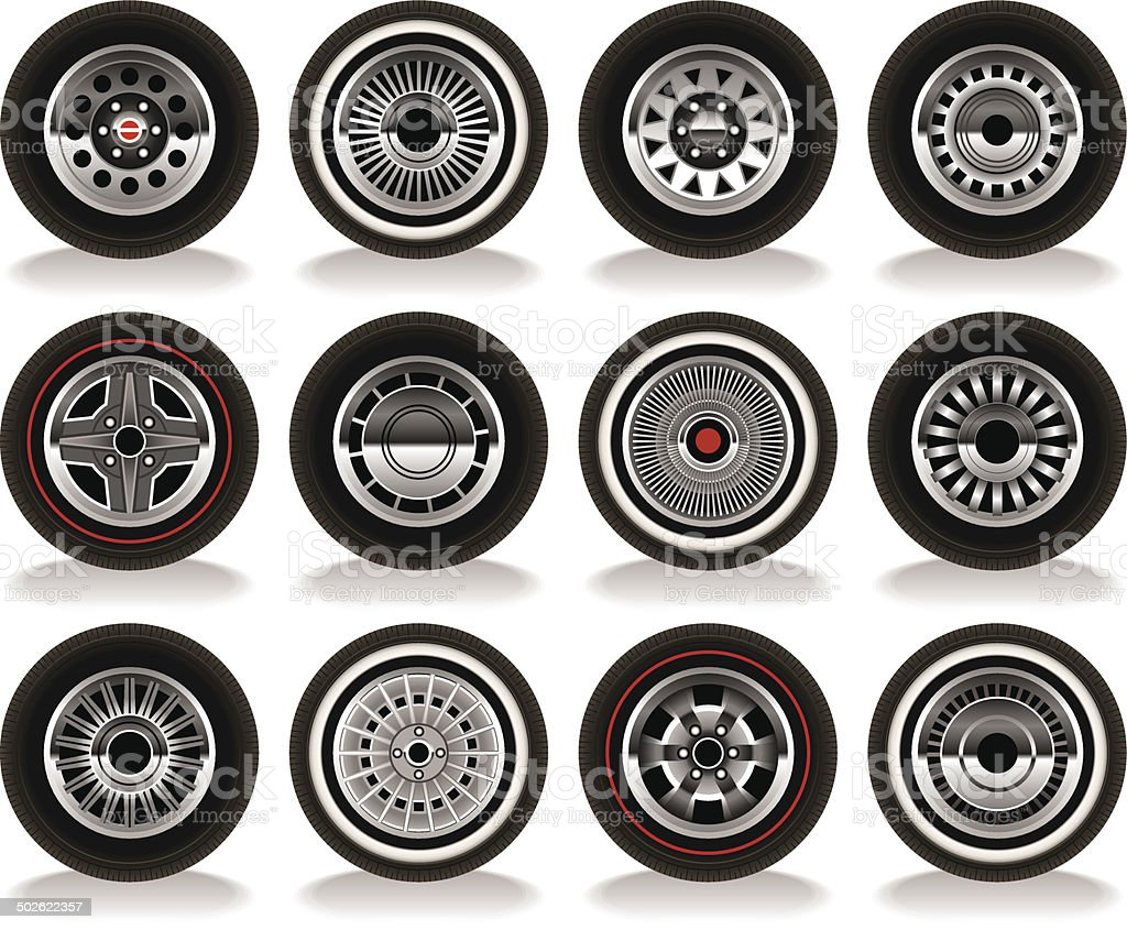 Retro Wheels vector art illustration