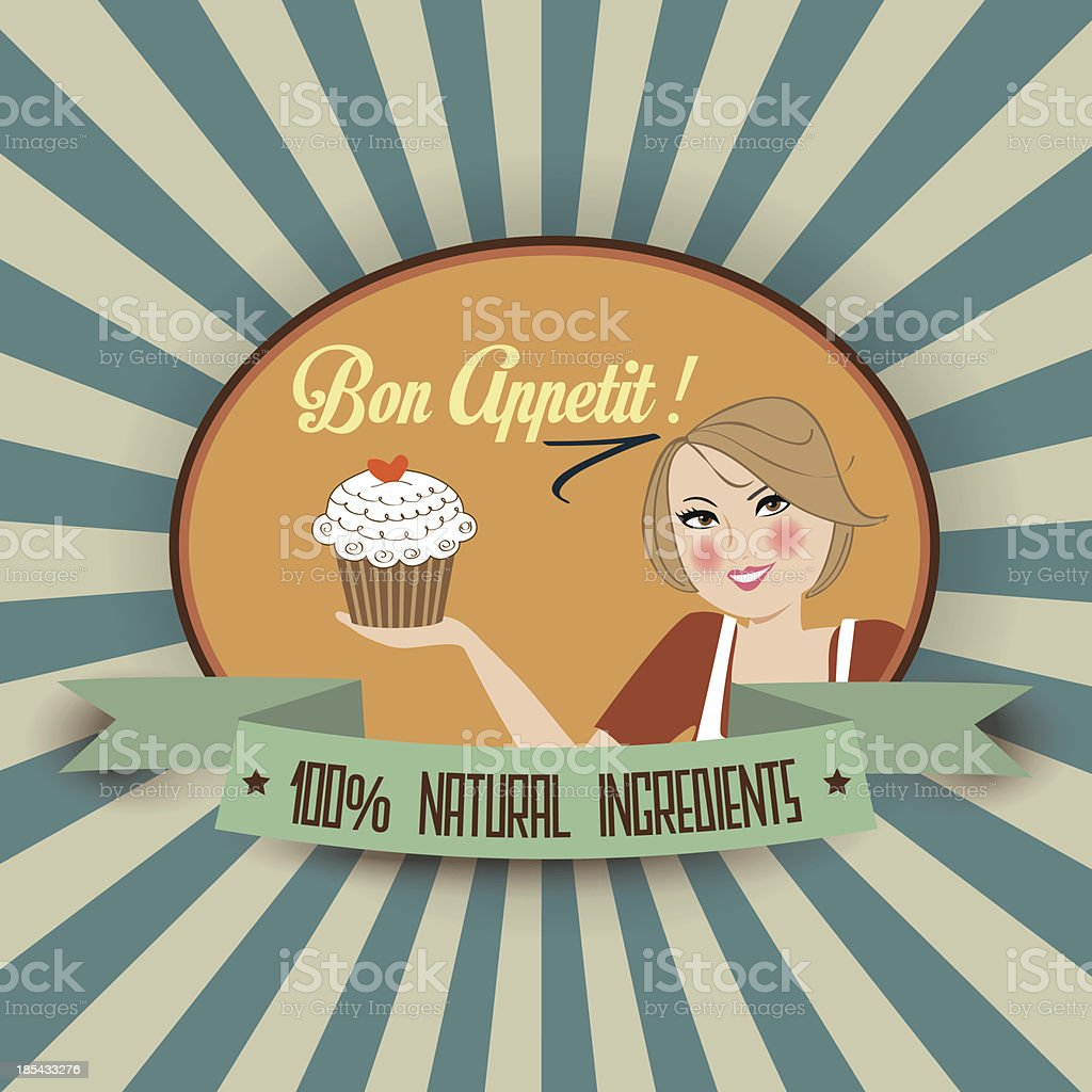 retro wife illustration with bon appetit message royalty-free retro wife illustration with bon appetit message stock vector art & more images of adult