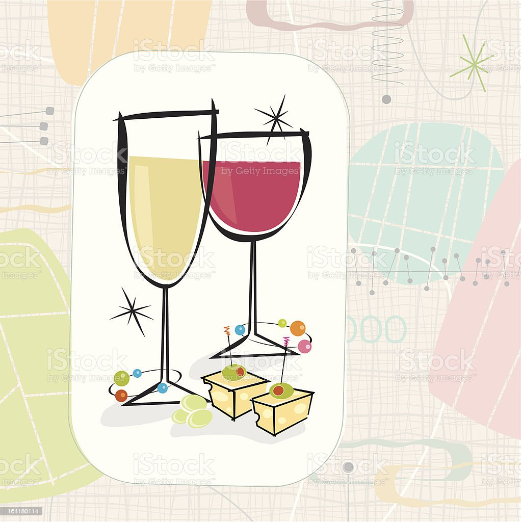 Retro Wine and Cheese (Vector) vector art illustration