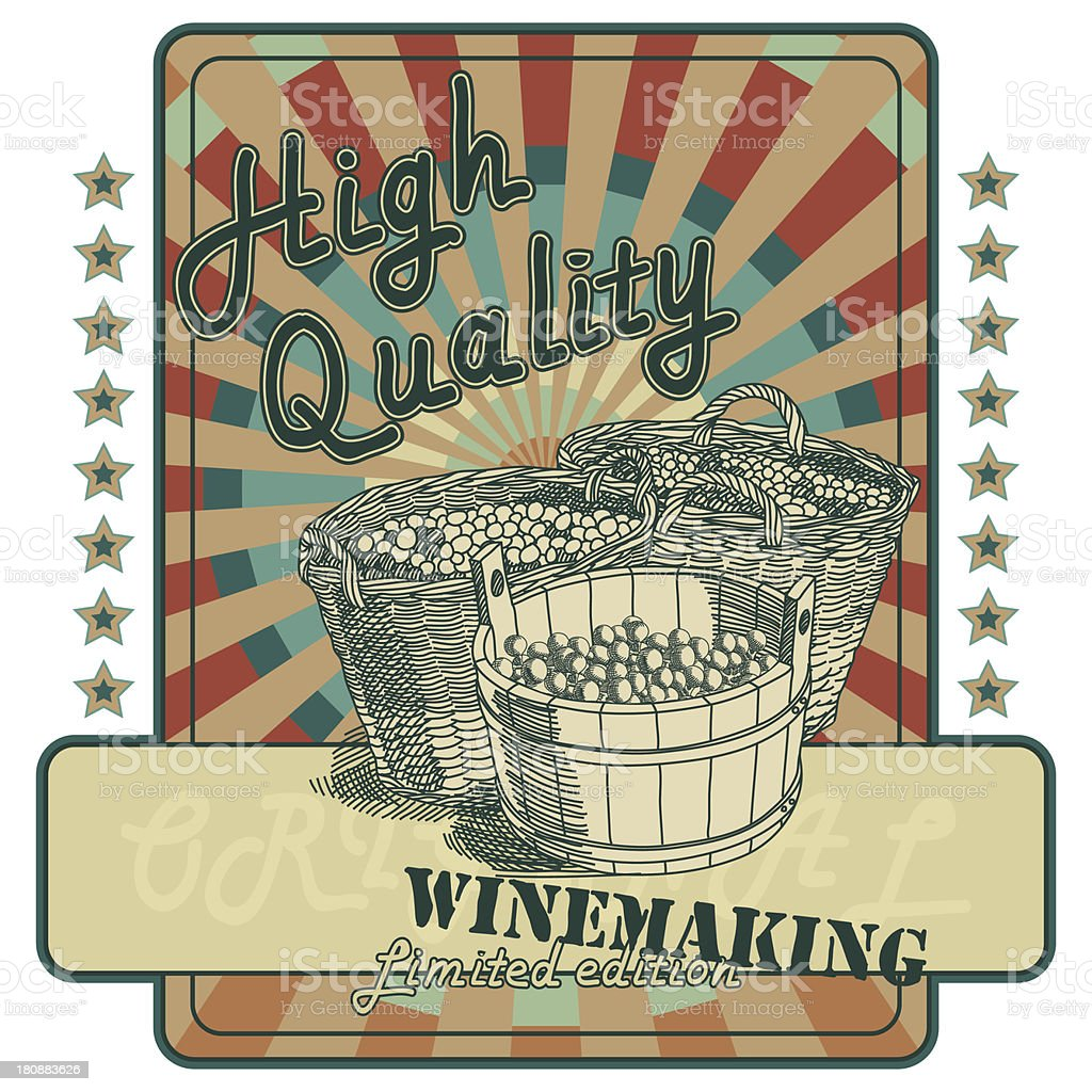 Retro wine label vector art illustration