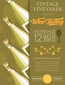 Retro Wine Tasting Event Invitation Poster Template - Marsala.  The invitation has four tilted full wine bottles on the left side over a opaque silhouette grapevine and the text is on the right. The poster is done in yellow and olive green.  This template could be used as a poster or invitation greeting card.