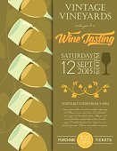 Retro Wine Tasting Event Invitation Poster Template - Marsala.  The invitation has five tilted full wine glasses opaque grapevine silhouette under on the left side and the text on the right. The poster is done in yellow and olive green.  This template could be used as a poster or invitation greeting card.