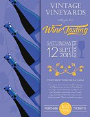 Retro Wine Tasting Event Invitation Poster Template - Marsala.  The invitation has four tilted full wine bottles on the left side over a opaque silhouette grapevine and the text is on the right. The poster is done in yellow and blue and purple.  This template could be used as a poster or invitation greeting card.