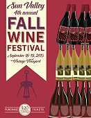Retro Wine Tasting Event Invitation vertical Poster Template. There is a tower of wine bottles on the right with the text on banner hanging vertically on left. Under the text is a corkscrew silhouette with more text under the corkscrew. The poster has a red background. The three layer wine bottle tower alternates with red and white wines.