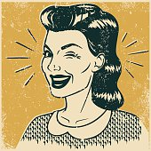 An vintage styled woman giving a sly wink to the viewer. Grunge texture added to create a trendy screen printed effect.