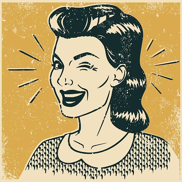 illustrazioni stock, clip art, cartoni animati e icone di tendenza di retrò donna fare l'occhiolino - fare l'occhiolino