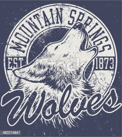 Vector one color retro howling wolf mascot athletic design complete with wolf head mascot illustration, vintage athletic fonts and matching textures (all on separate layers, of course).