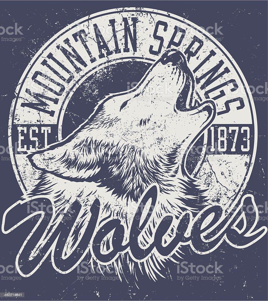 Retro Wolf Mascot Design vector art illustration