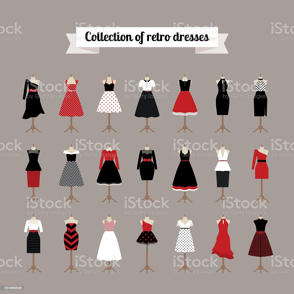 Retro woman dresses vector art illustration