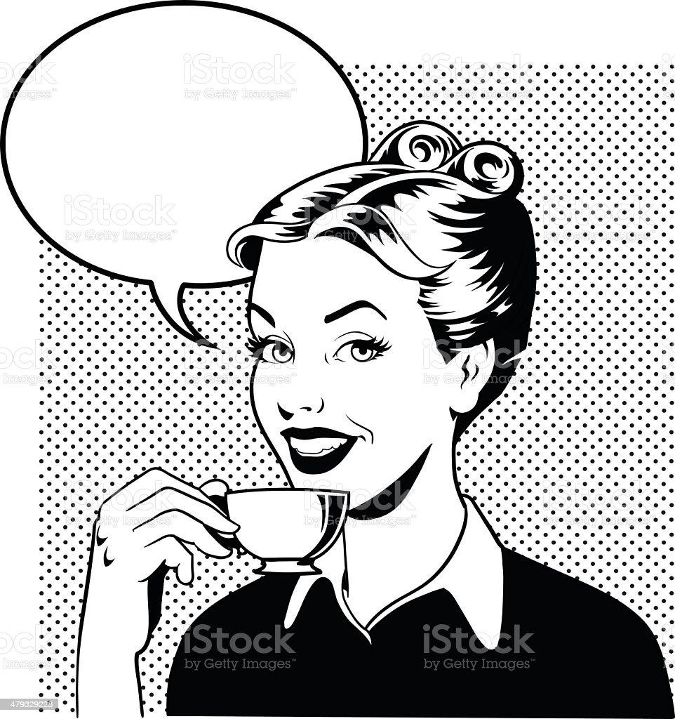 Retro mujer bebiendo café en blanco y negro - ilustración de arte vectorial