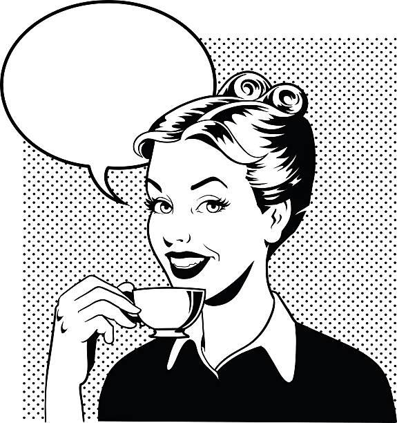 ilustraciones, imágenes clip art, dibujos animados e iconos de stock de retro mujer bebiendo café en blanco y negro - café bebida