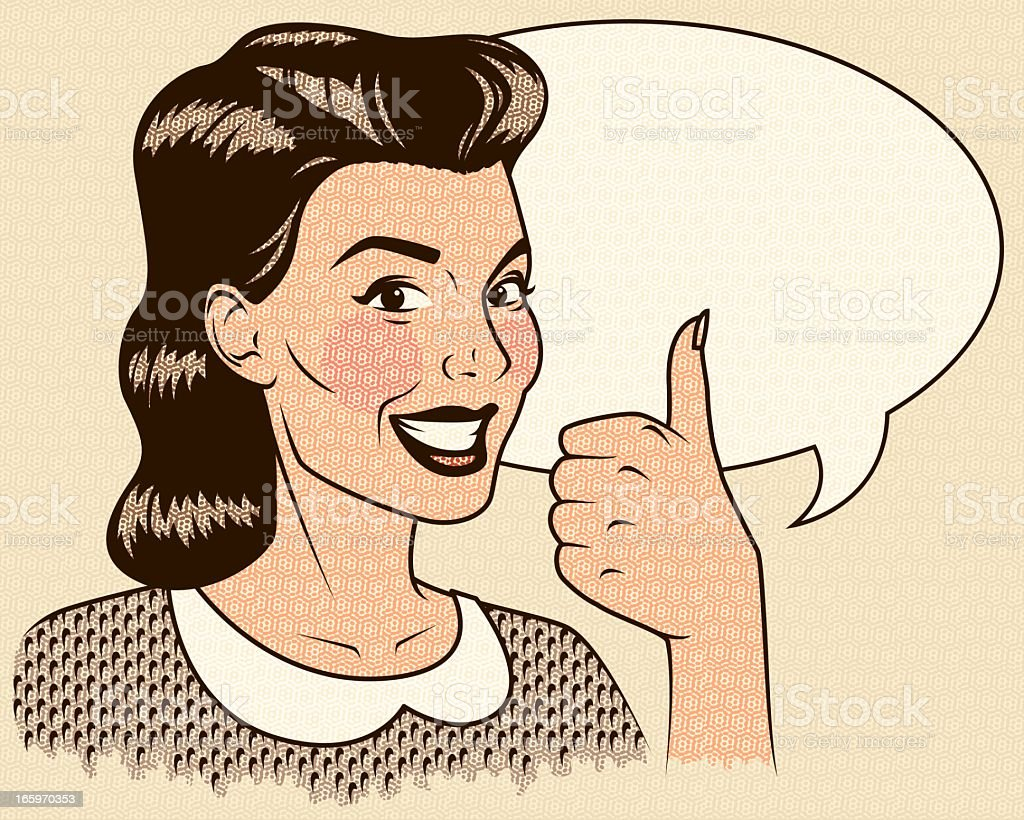 Retro Woman Giving a Thumb's Up with Speech Bubble royalty-free retro woman giving a thumbs up with speech bubble stock vector art & more images of adult