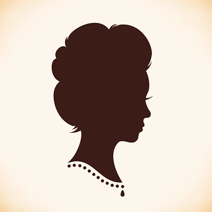 Retro woman head silhouette