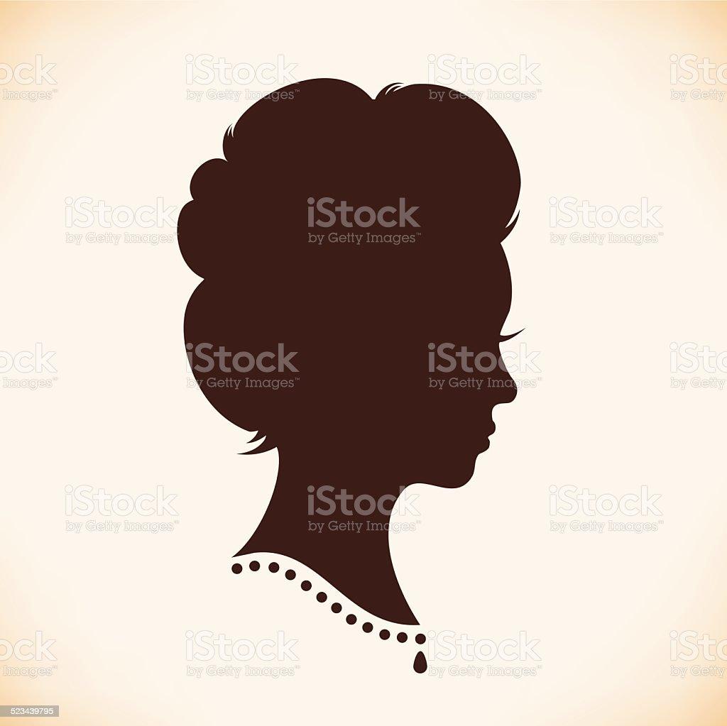 Retro woman head silhouette vector art illustration